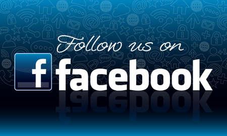 follow: Follow us on Facebook icon design Editorial