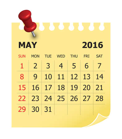 Simple calendar for May 2016