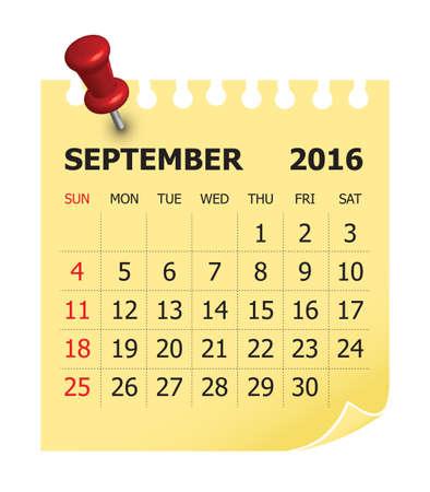sep: Simple calendar for September 2016