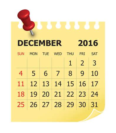 diciembre: Calendario simple para diciembre 2016