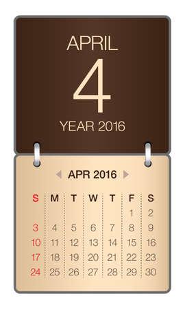 4월: Simple calendar for April 2016