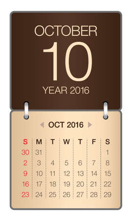 october: Simple calendar for October 2016