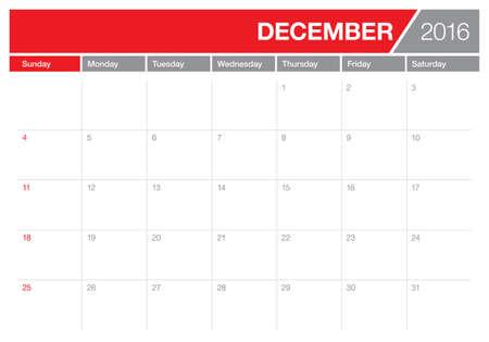 calendario diciembre: Calendario de la tabla simple para 2016 a�os Vectores