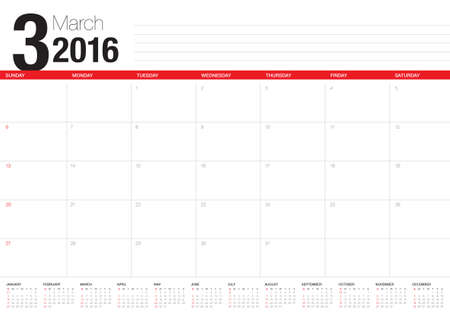 meses del a�o: Calendario de la tabla simple para 2016 a�os Vectores