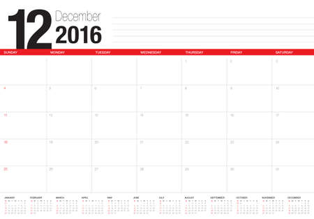 number 12: Simple table calendar for 2016 year