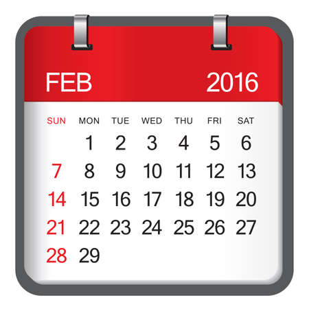 Simple calendar for February 2016 Stock Illustratie