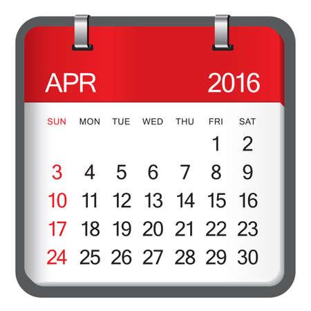 april: Simple calendar for April 2016
