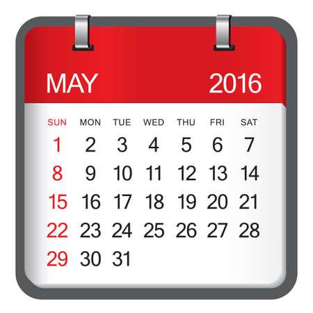 Einfacher Kalender für Mai 2016