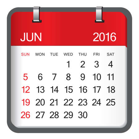 Simple calendar for June 2016