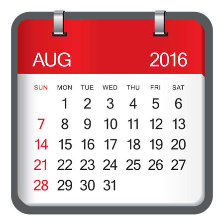 august: Simple calendar for August 2016 Illustration