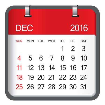 number 12: Simple calendar for December 2016