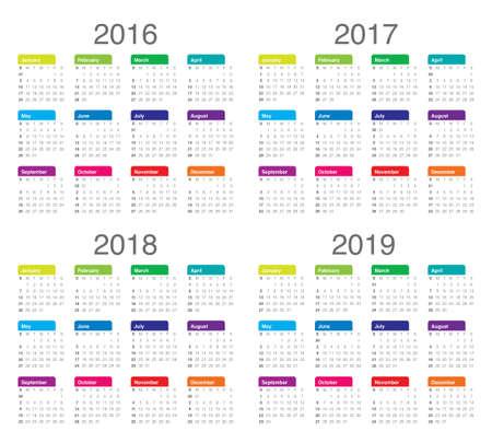 Simple calendar for 2016 2017 2018 2019 Illustration