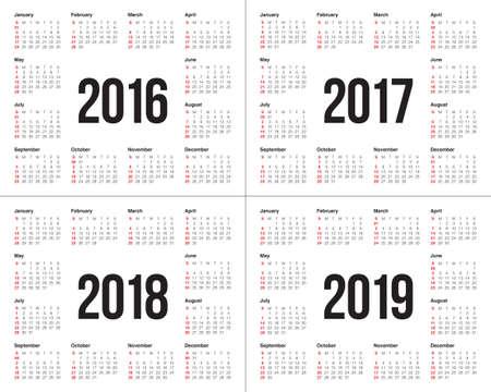 Simple calendar for 2016 2017 2018 2019 Ilustracja