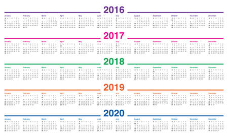 Simple calendar for 2016 2017 2018 2019 2020