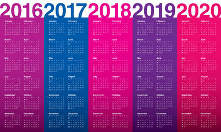 calendario: Calendario simple para 2016 2017 2018 2019 2020 Vectores