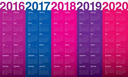 kalendarz: Prosty kalendarz na rok 2016 2017 +2018 2019 2020