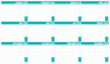 kalendarz: Prosty kalendarz na 2016 rok stół Ilustracja