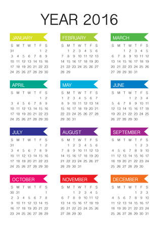 meses del a�o: Calendario simple para los 2016 a�os Vectores
