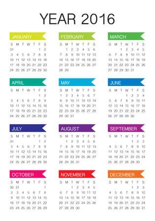 calendrier: Simple calendrier pour 2016 ann�es Illustration