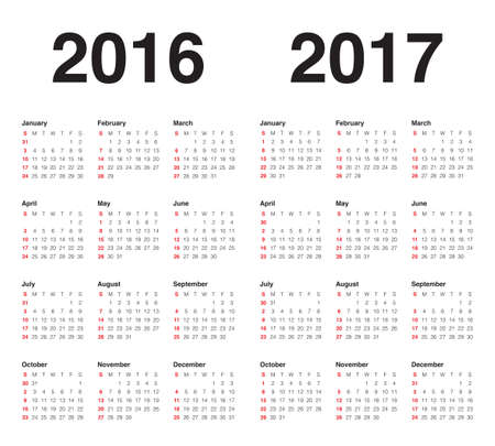 Simple calendar for 2017 and 2017 向量圖像
