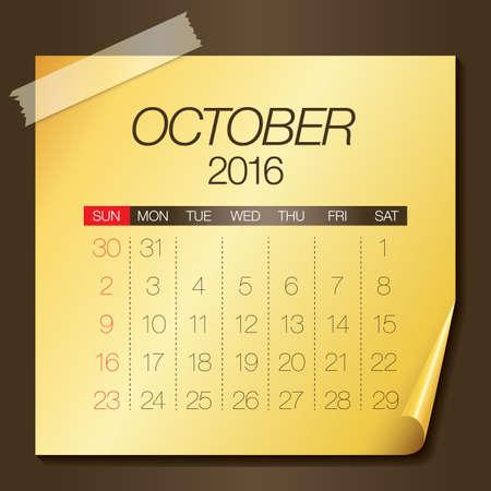 październik: Prosty kalendarz na październik 2016