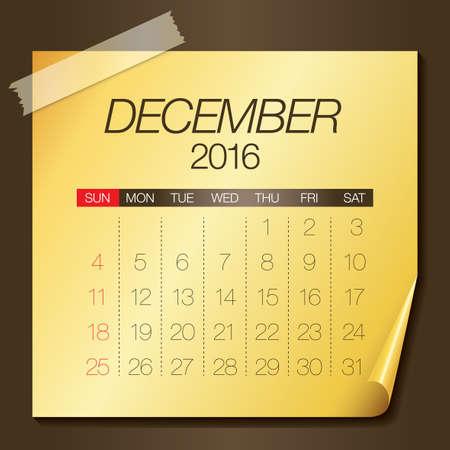 number twelve: Simple calendar for December 2016