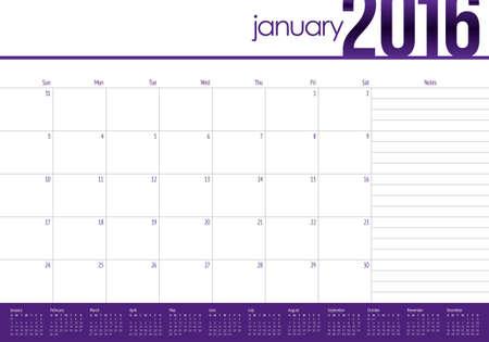 1 january: Simple table calendar for 2016 year