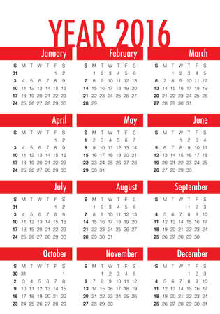 일정: Simple calendar for 2016 year 일러스트
