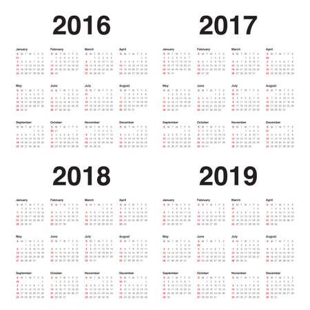 2016 2017年 2018年 2019年のシンプルなカレンダー  イラスト・ベクター素材