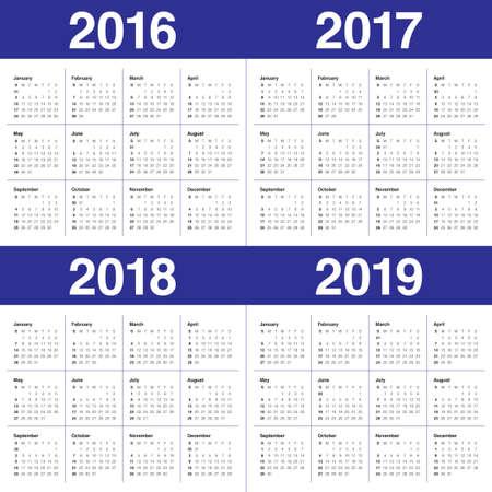 Simple calendar for 2016 2017 2018 2019 Ilustrace