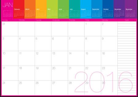 january 1: Simple table calendar for 2016 year