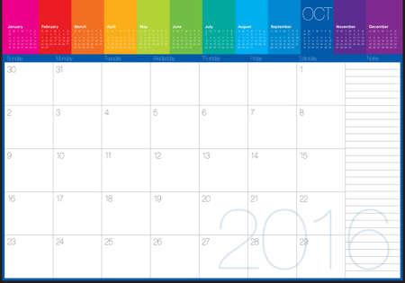 table calendar: Simple table calendar for 2016 year