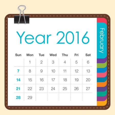 calendrier: Simple calendar for February 2016 Illustration