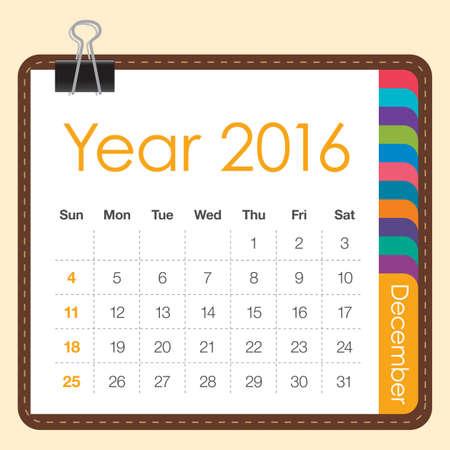 december: Calendario simple para diciembre 2016