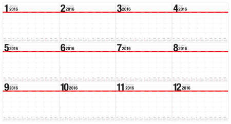schedule appointment: Simple table calendar for 2016 year