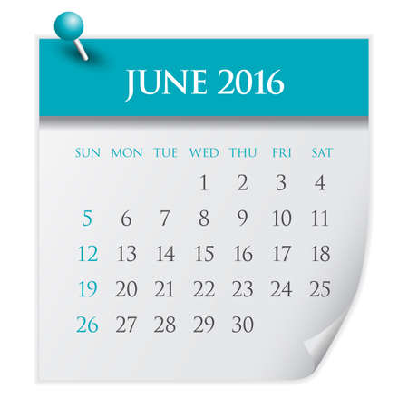 june: Simple calendar for June 2016