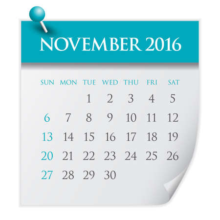 number 11: Simple calendar for November 2016