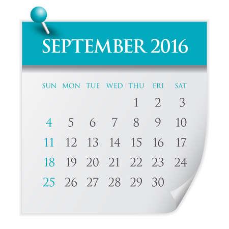 in september: Simple calendar for September 2016