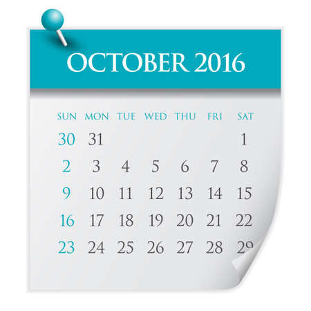 październik: Simple calendar for October 2016