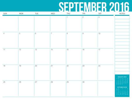 sep: Simple table calendar for 2016 year