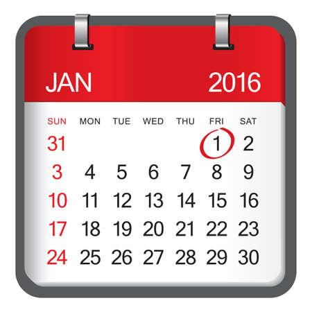 january 1: 2016 January calendar on white background