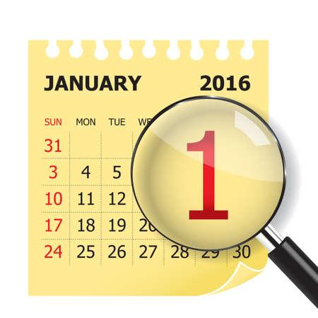 the january: Calendario enero y Magnifer sobre fondo blanco