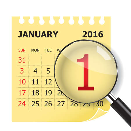 January calendar & Magnifer on white background Illustration