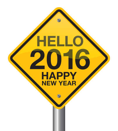 new direction: Hello 2016 Happy New Year road sign