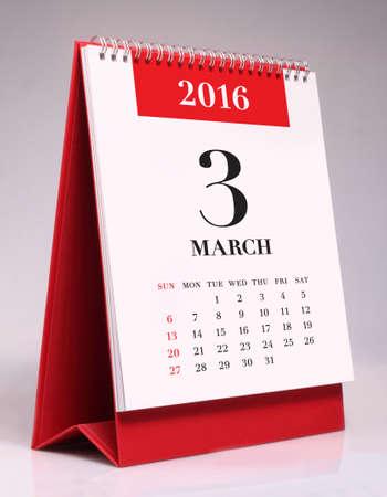 calendario: calendario de escritorio simple para marzo el a�o 2016 Foto de archivo