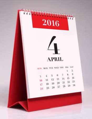 conception: calendrier de bureau simple pour Avril 2016