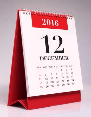 in december: Simple desk calendar for December 2016 Stock Photo