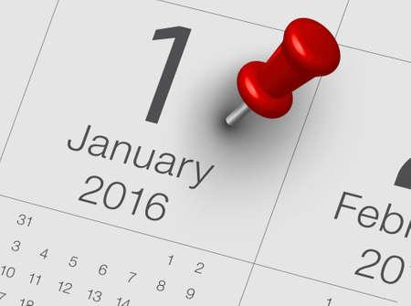 close up of January 2016 on diary calendar