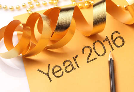 wordings: Year 2016 wordings with gold color decorations. New Year is the time at which a new calendar year begins and the calendars year count increments by one.