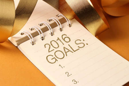 goal: 2016 goals with gold color decorations. New Year's goals are resolutions or promises that people make for the New Year to make their upcoming year better in some way.